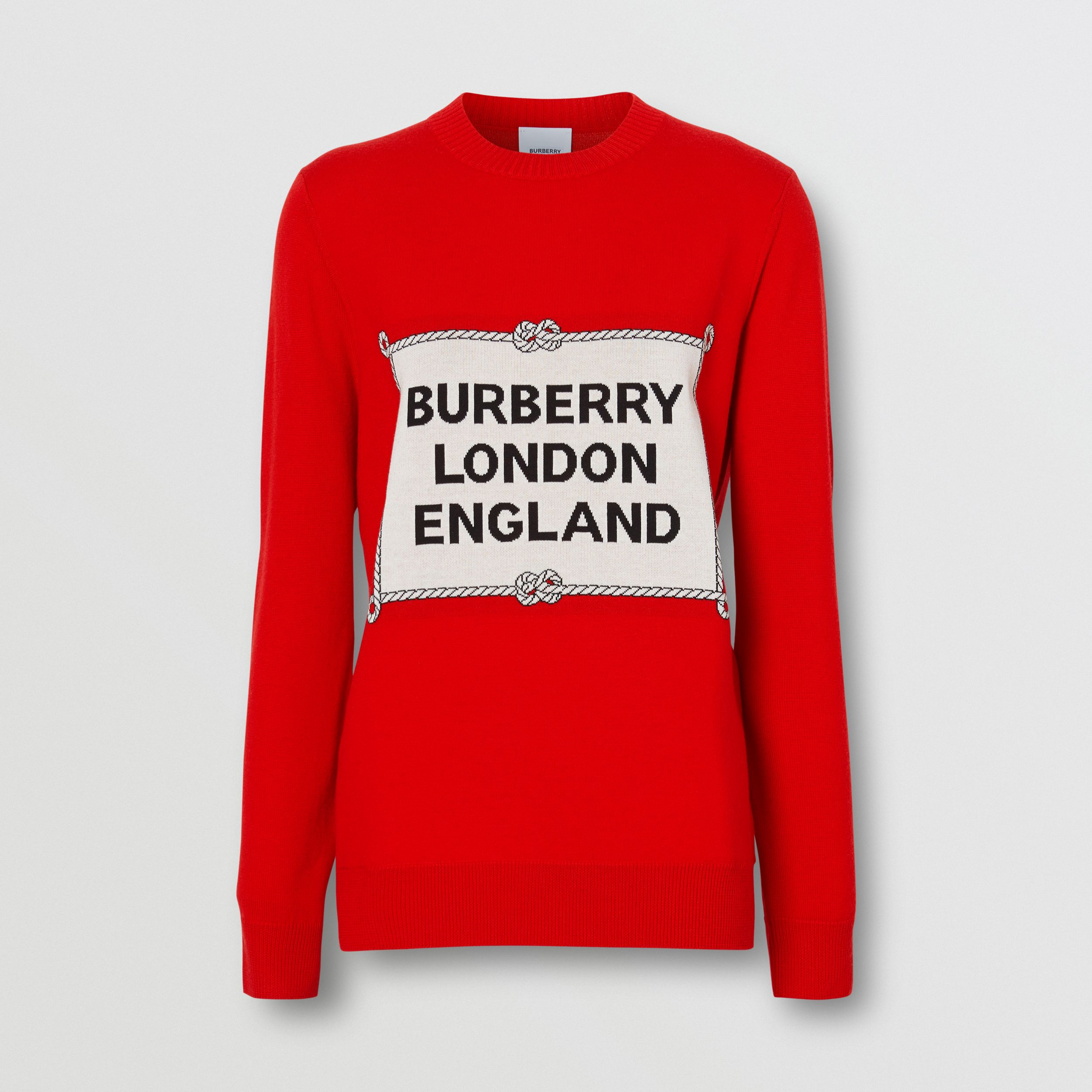 Rigging Intarsia Merino Wool Sweater in Bright Red - Women | Burberry Canada - 4