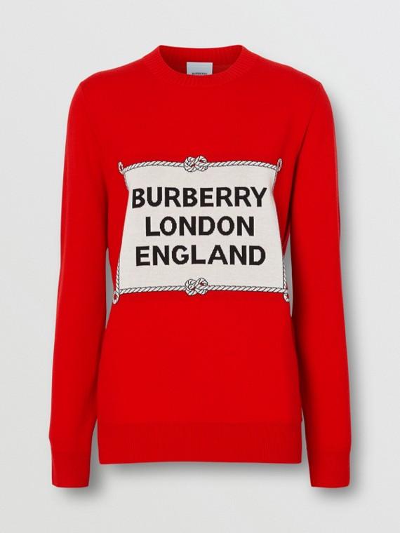 Rigging Intarsia Merino Wool Sweater in Bright Red