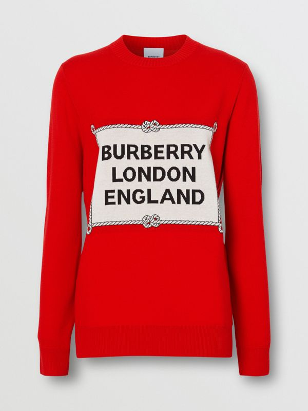 Rigging Intarsia Merino Wool Sweater in Bright Red - Women | Burberry United Kingdom - cell image 3