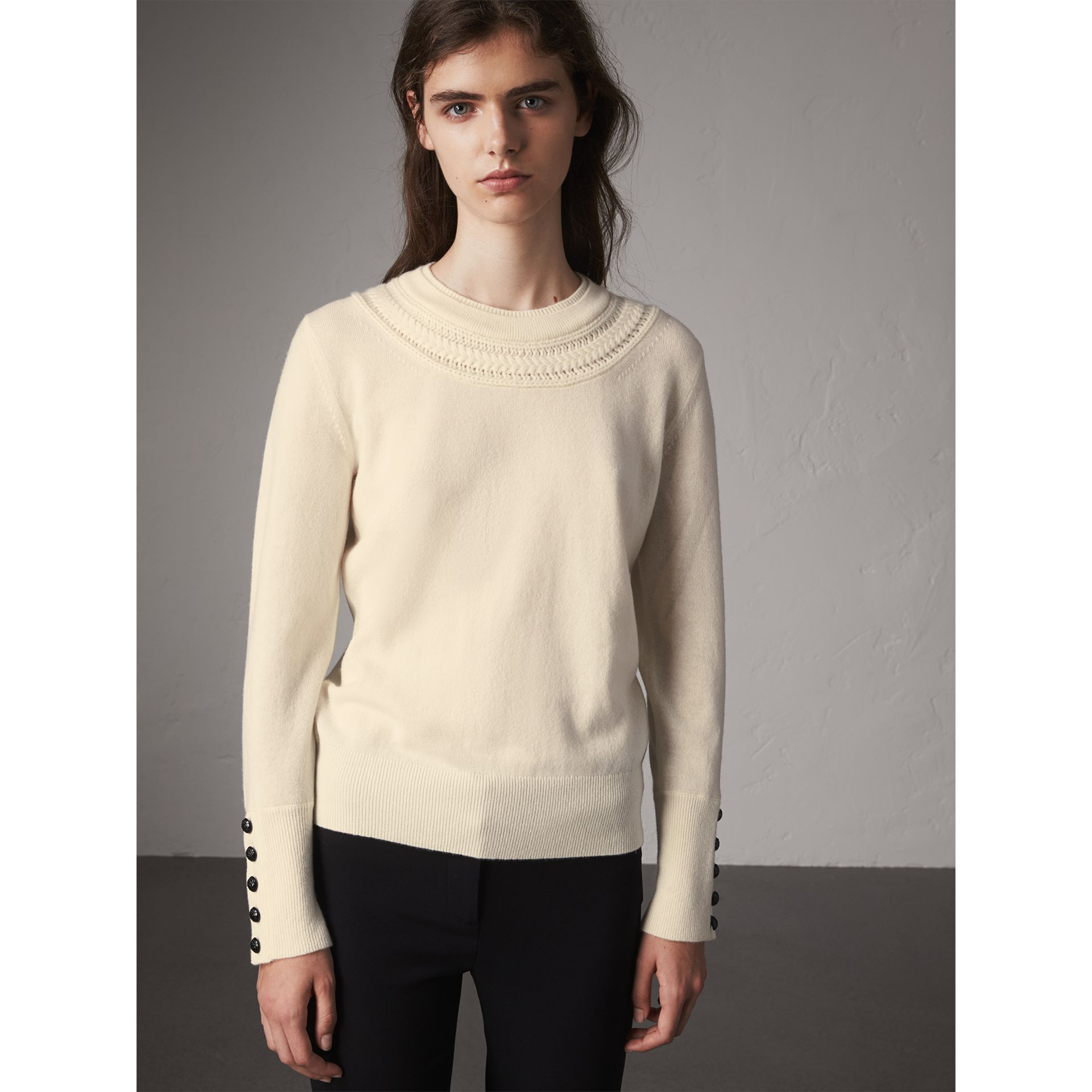 Cable Knit Yoke Cashmere Sweater in Natural White - Women | Burberry Singapore - gallery image 1