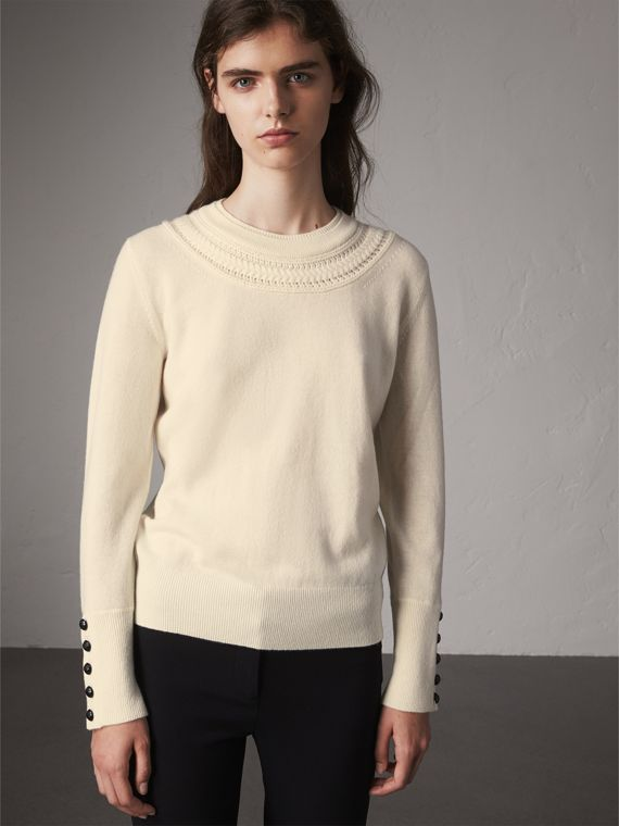 Cable Knit Yoke Cashmere Sweater in Natural White