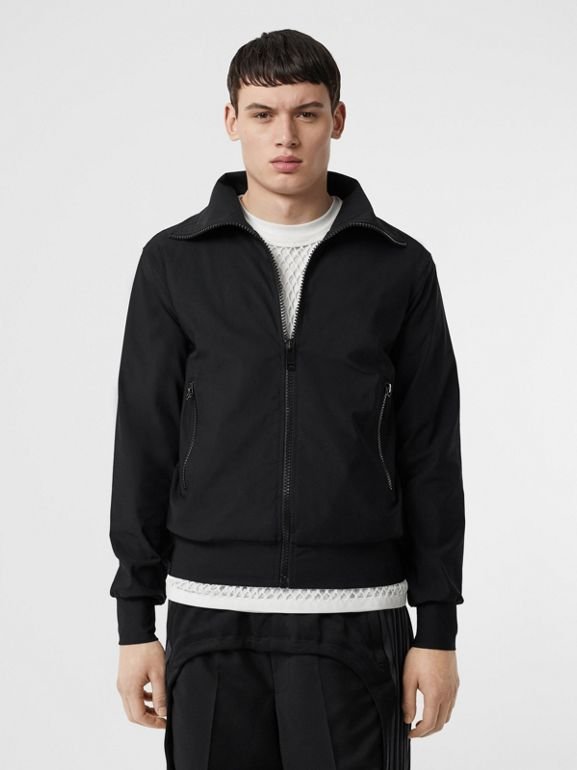 Logo Print Funnel Neck Track Top in Black - Men | Burberry United Kingdom - cell image 1