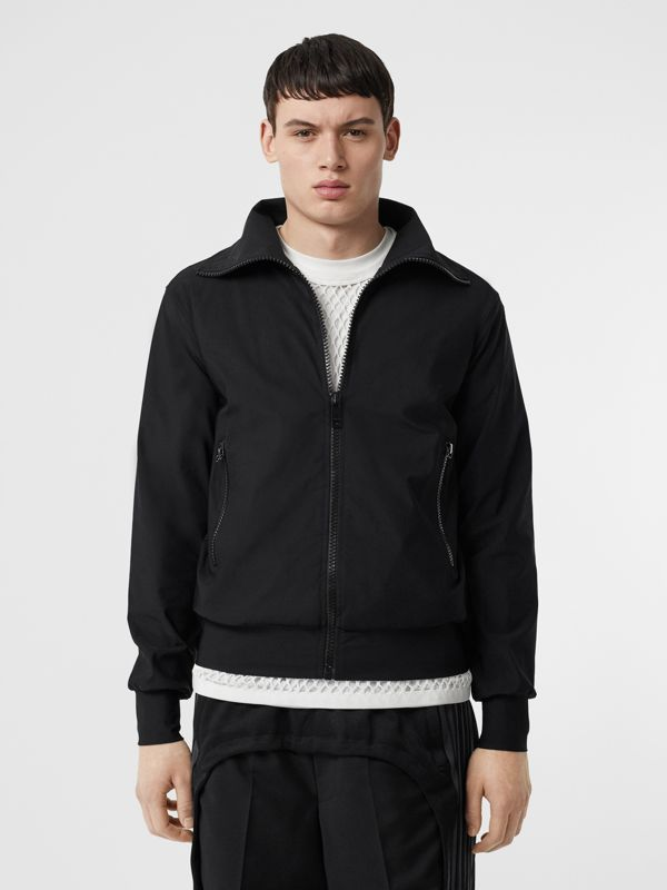 Logo Print Funnel Neck Track Top in Black - Men | Burberry - cell image 2