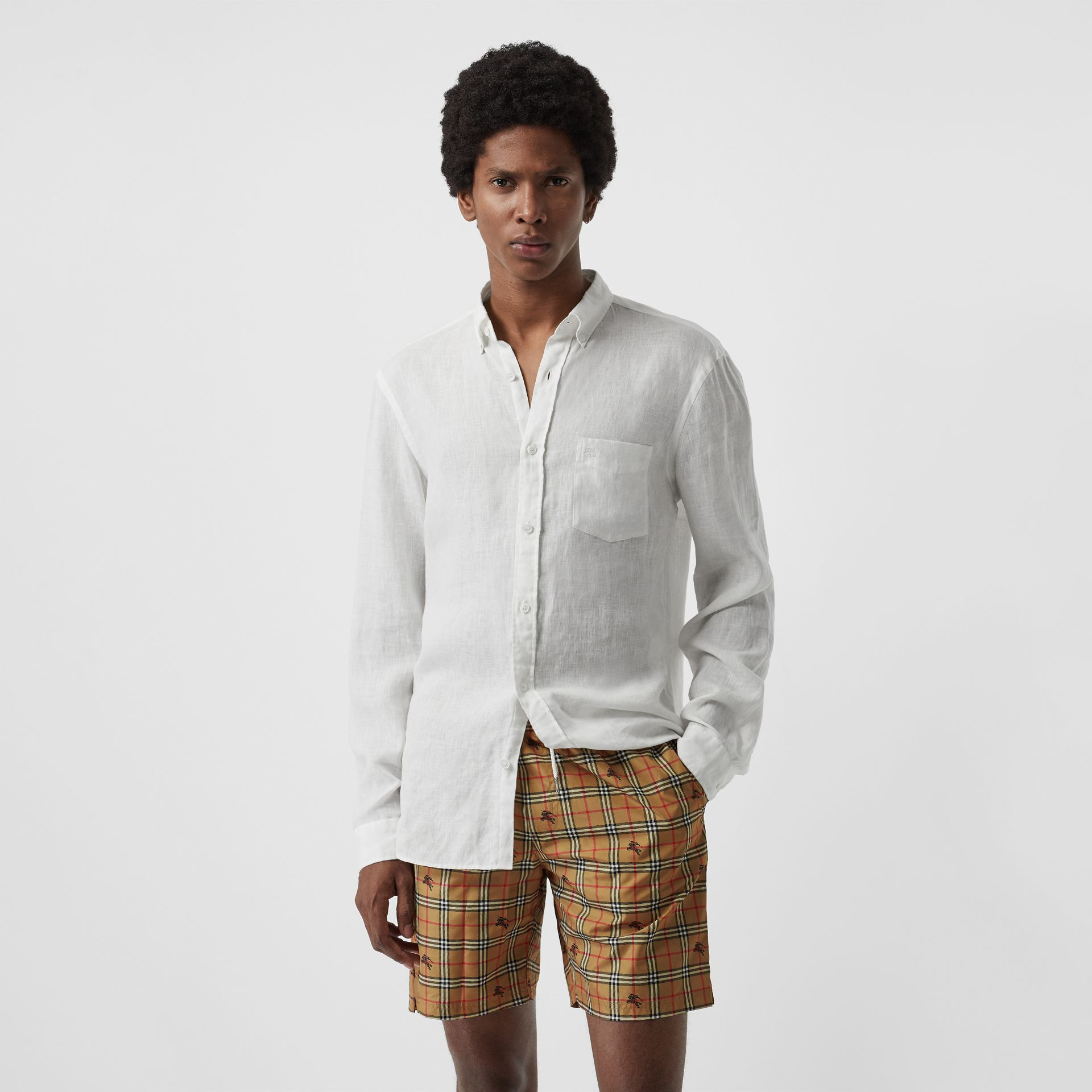 Equestrian Knight Check Drawcord Swim Shorts in Camel - Men | Burberry Australia - gallery image 0