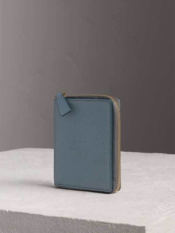 Embossed Grainy Leather Ziparound A6 Notebook Case in Dusty Teal Blue
