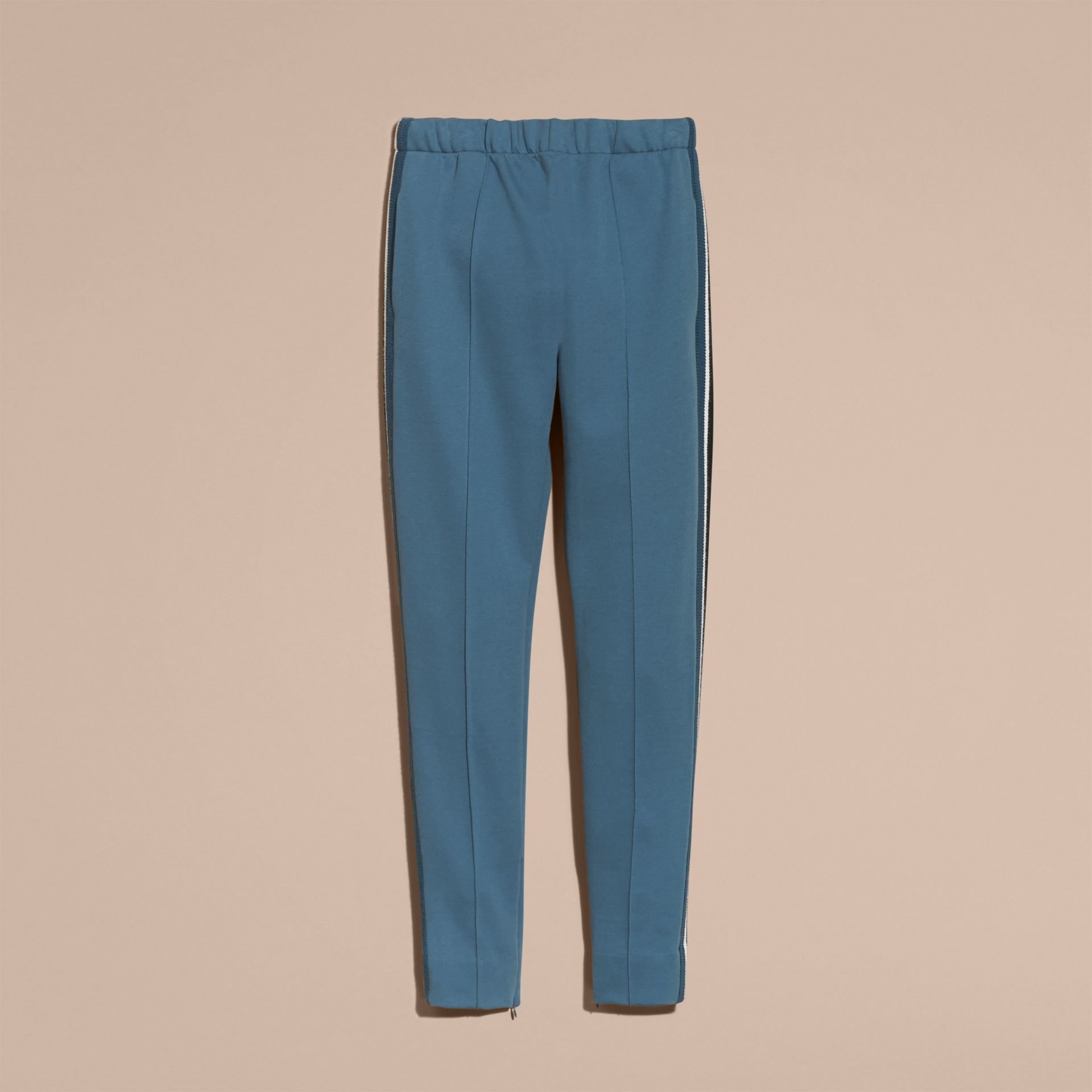 Sports-striped Cotton Blend Sweat Pants Mineral Blue - gallery image 4