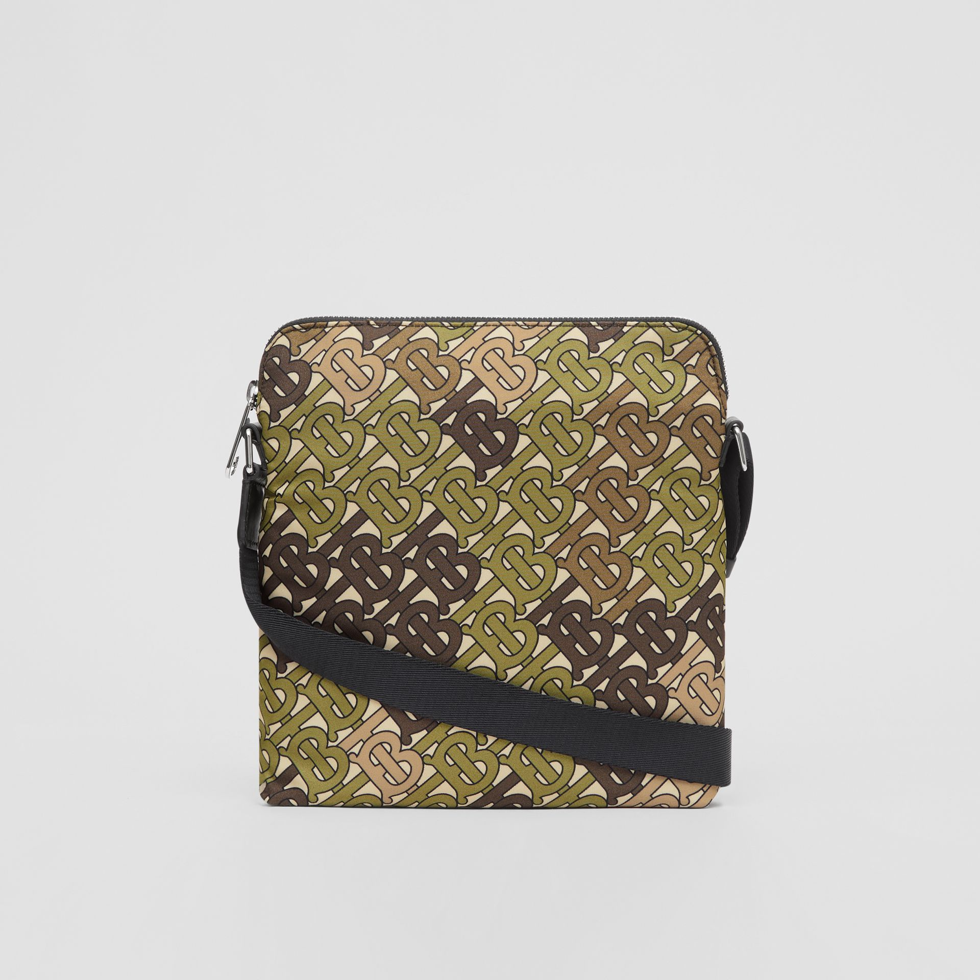 Monogram Print Nylon Crossbody Bag in Khaki Green - Men | Burberry United Kingdom - gallery image 7