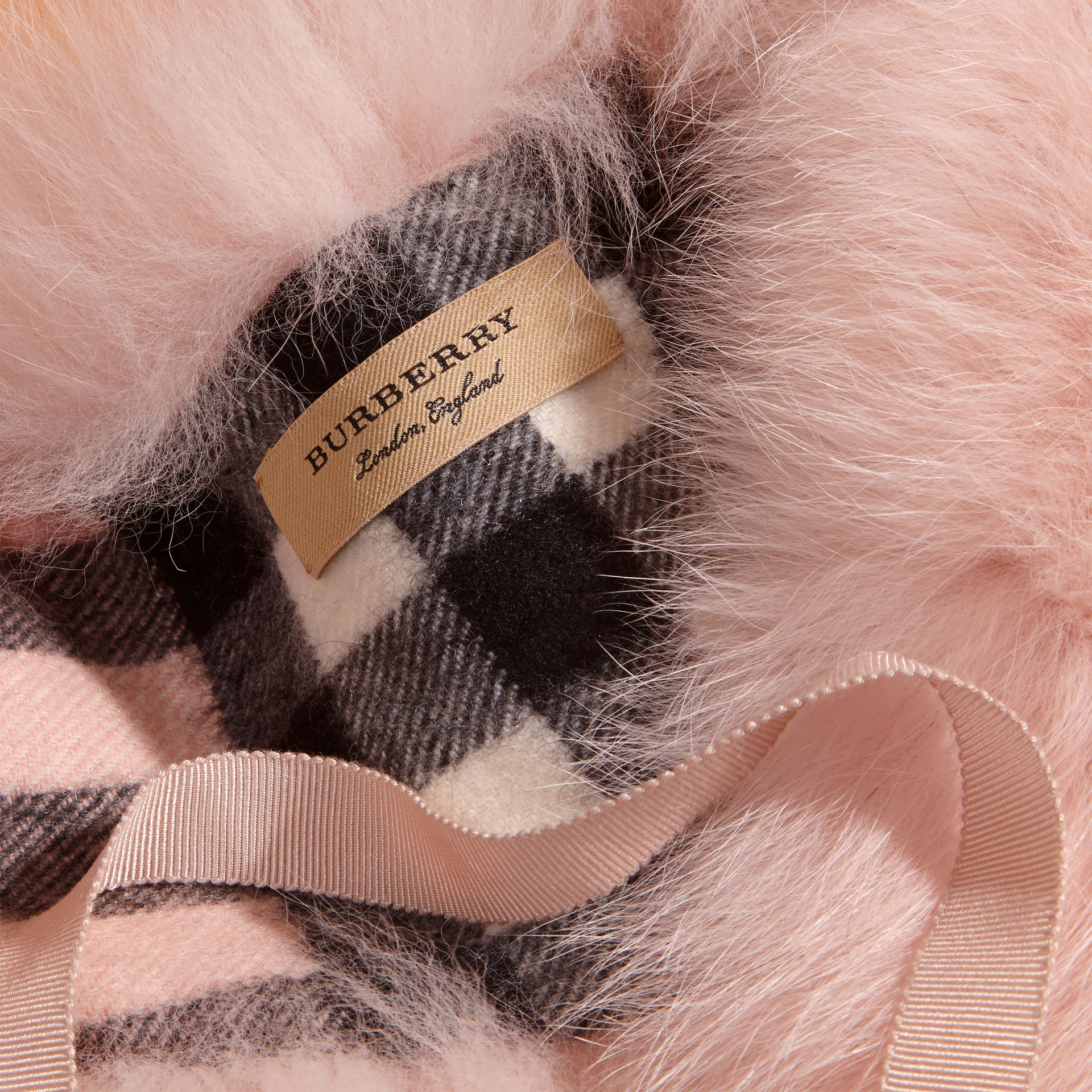 Ash rose Fox Fur Collar with Check Cashmere Lining Rose - gallery image 2