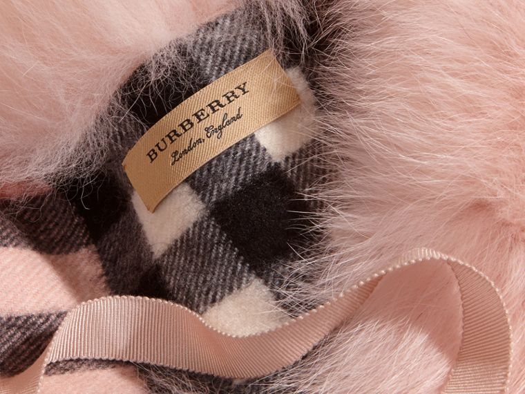 Ash rose Fox Fur Collar with Check Cashmere Lining Rose - cell image 1