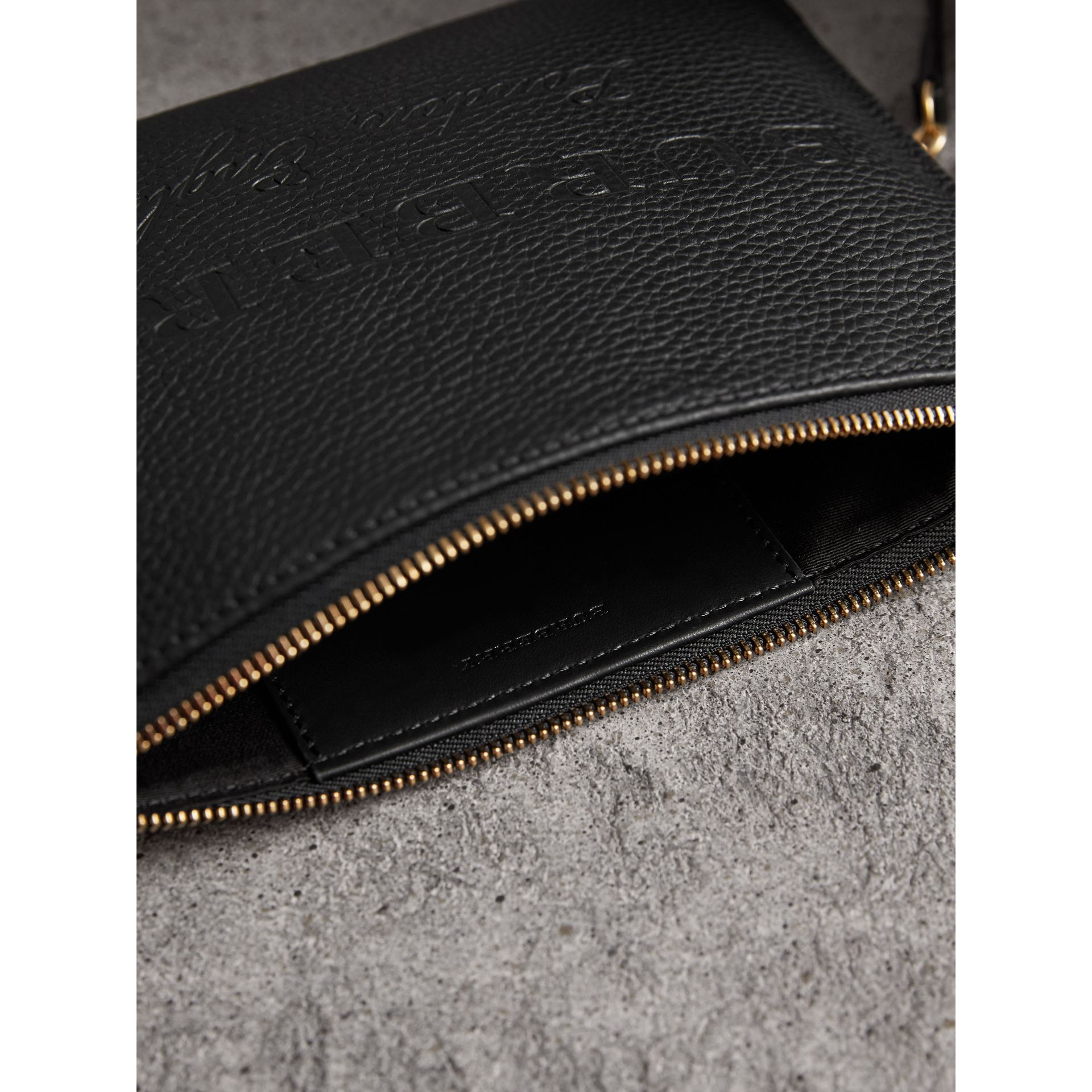 Embossed Leather Clutch Bag in Black - Women | Burberry Canada - gallery image 5