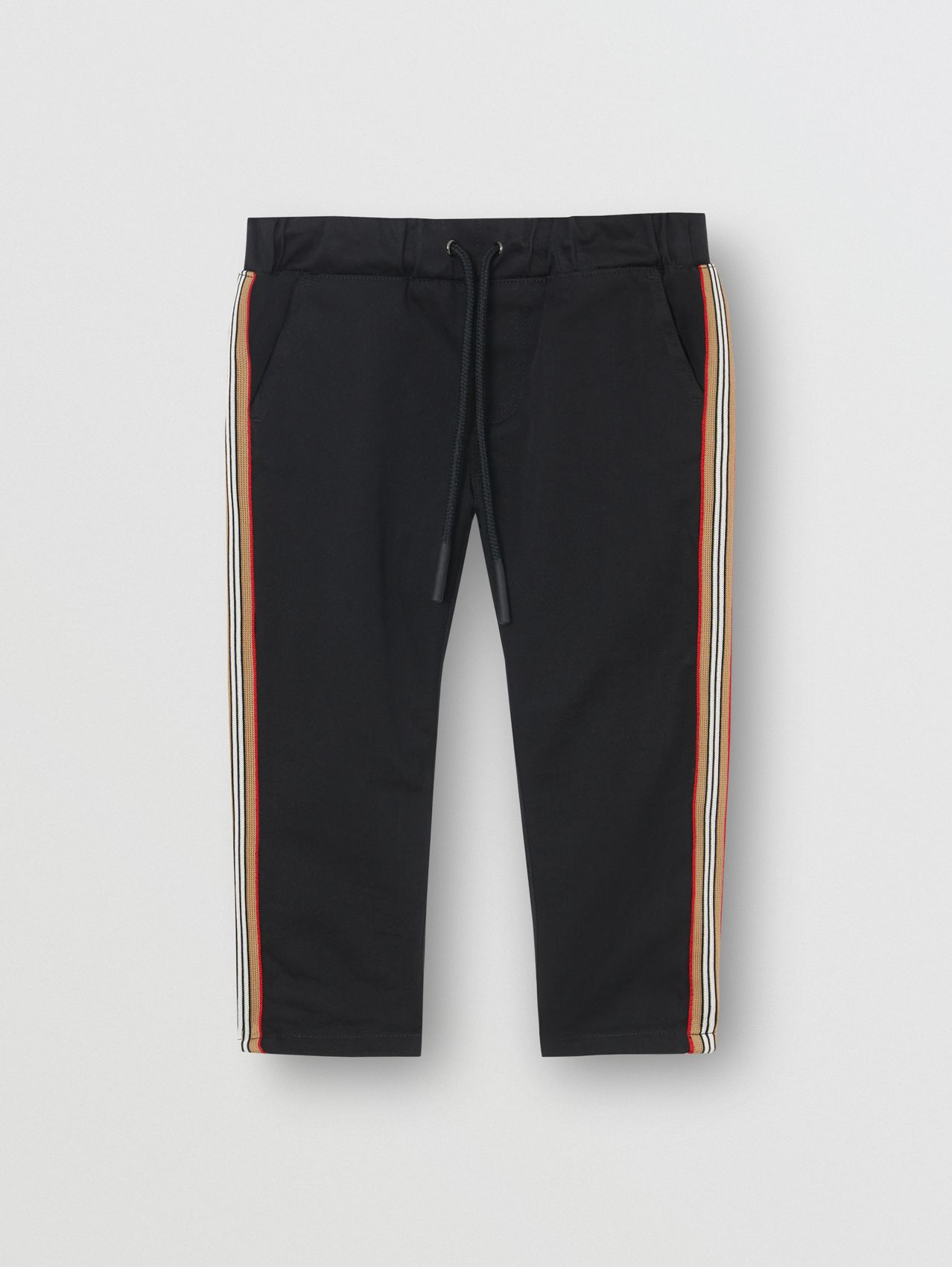 Icon Stripe Detail Cotton Chinos in Black