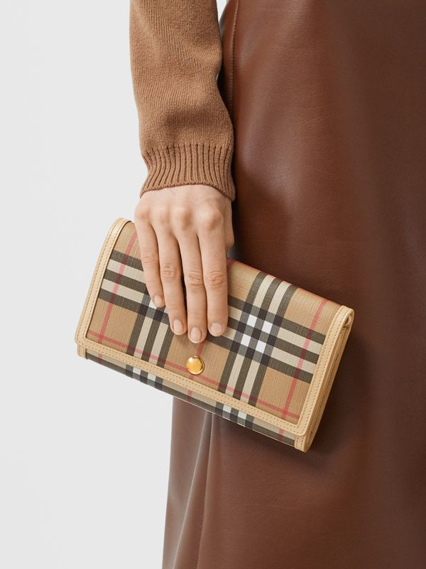 Vintage Check E-canvas Wallet with Detachable Strap in Beige - Women | Burberry - cell image 2