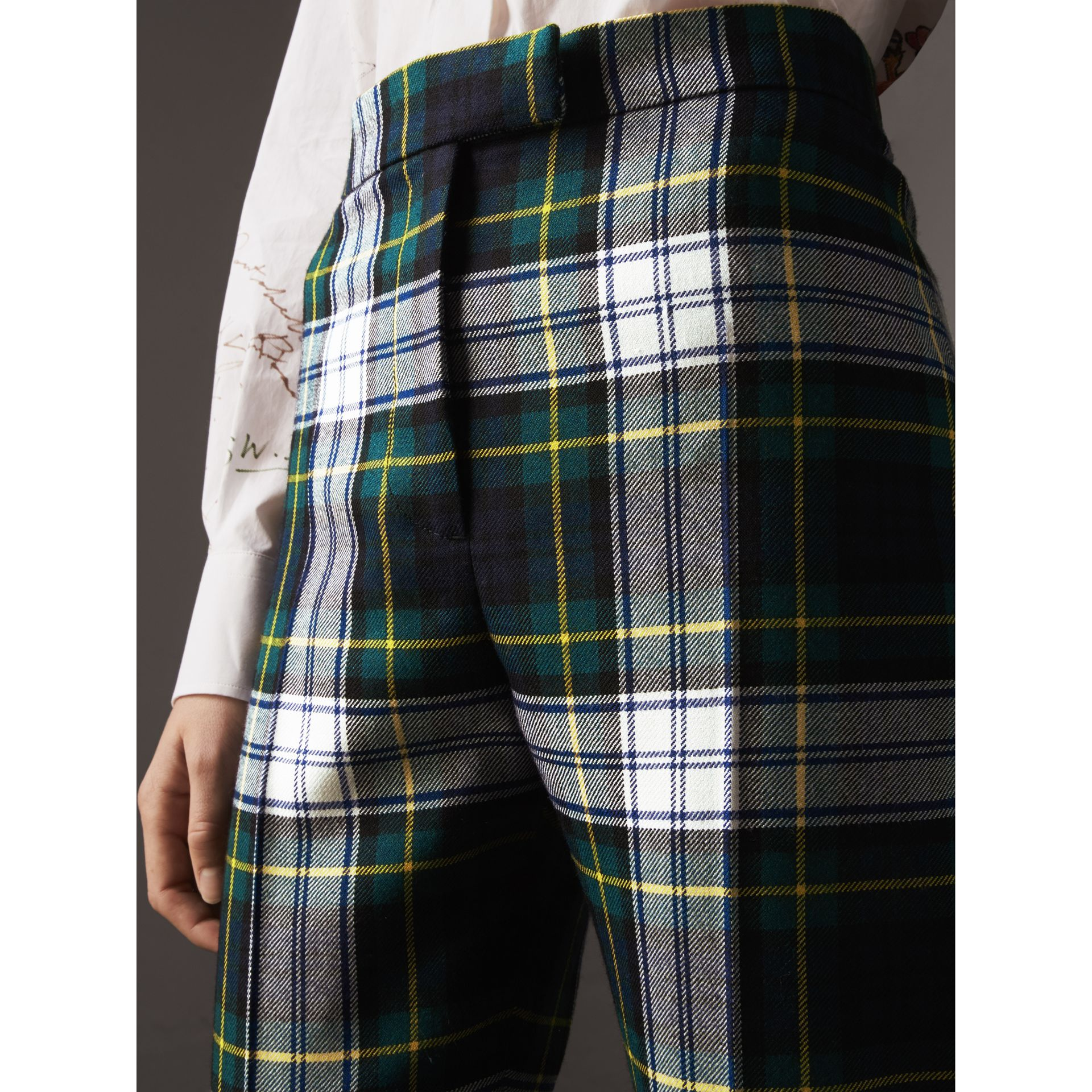 Tartan Wool High-waisted Stirrup Trousers in Ink Blue - Women | Burberry - gallery image 1