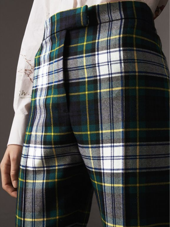 Tartan Wool High-waisted Stirrup Trousers in Ink Blue - Women | Burberry - cell image 1