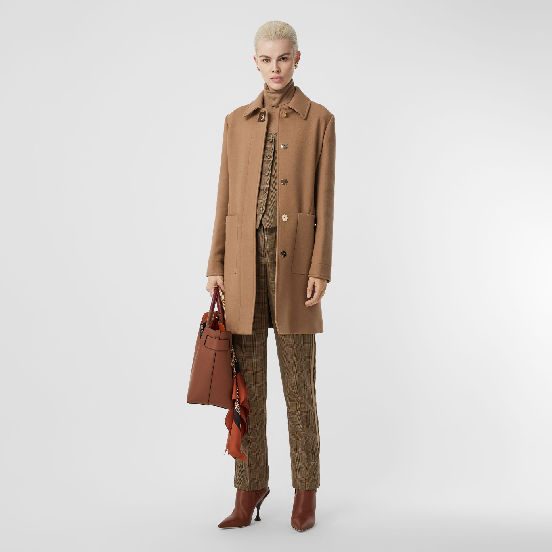 Double-faced Wool Tailored Coat in Fawn - Women | Burberry United Kingdom - gallery image 0