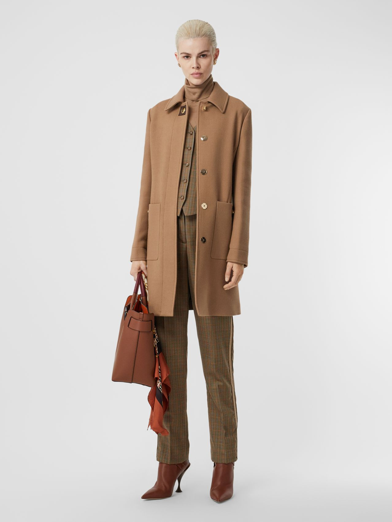 Double-faced Wool Tailored Coat in Fawn