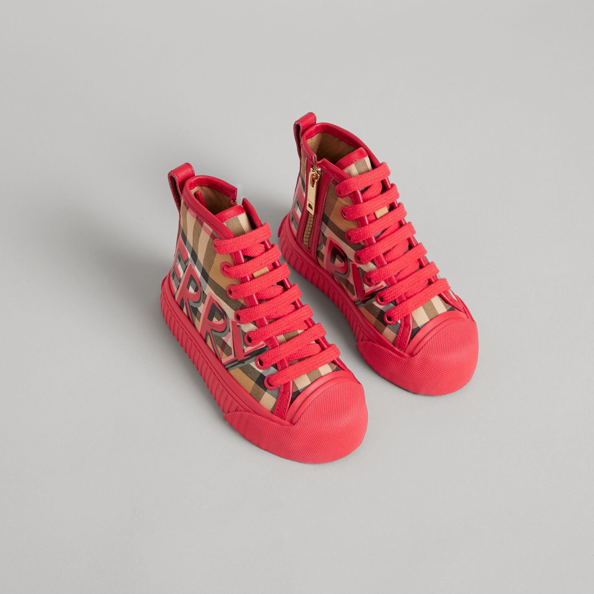 Graffiti Vintage Check High-top Sneakers in Bright Red - Children | Burberry - gallery image 0