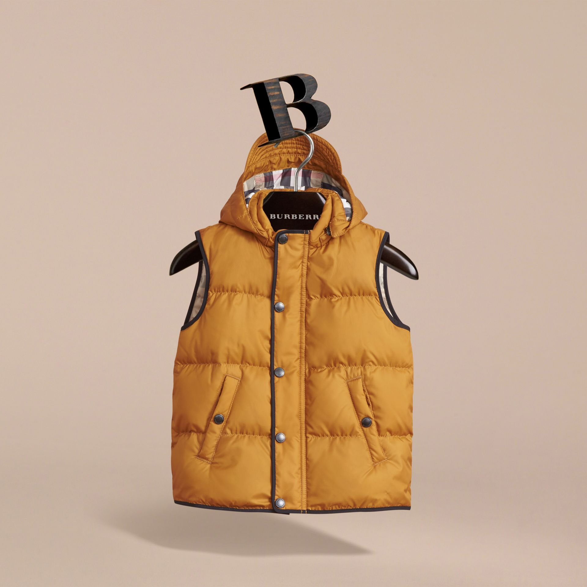 Down-filled Hooded Gilet in Umber Yellow - Boy | Burberry - gallery image 3
