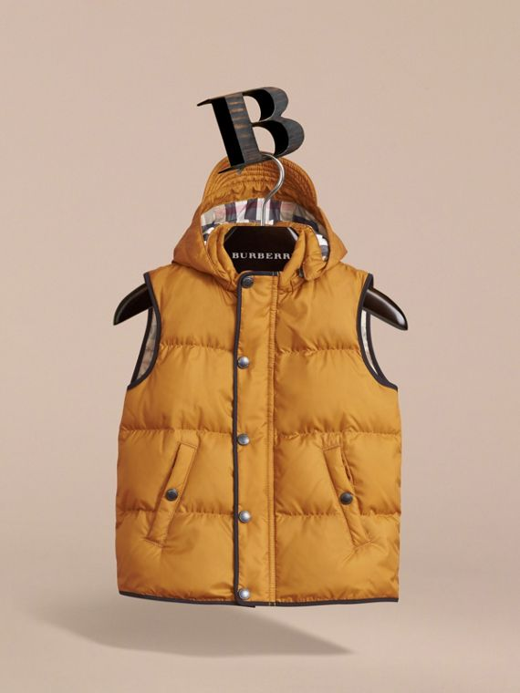 Down-filled Hooded Gilet in Umber Yellow - Boy | Burberry - cell image 2