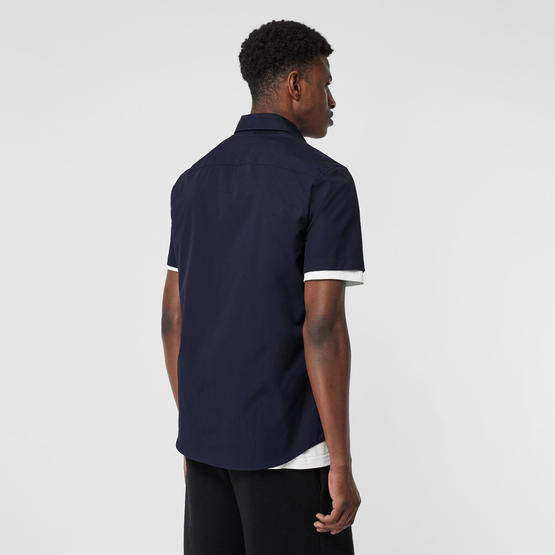 Short-sleeve Monogram Motif Stretch Cotton Shirt in Navy - Men | Burberry Australia - gallery image 2