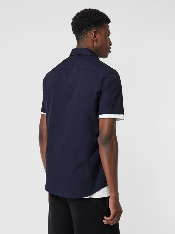 Short-sleeve Monogram Motif Stretch Cotton Shirt in Navy - Men | Burberry Hong Kong - cell image 2