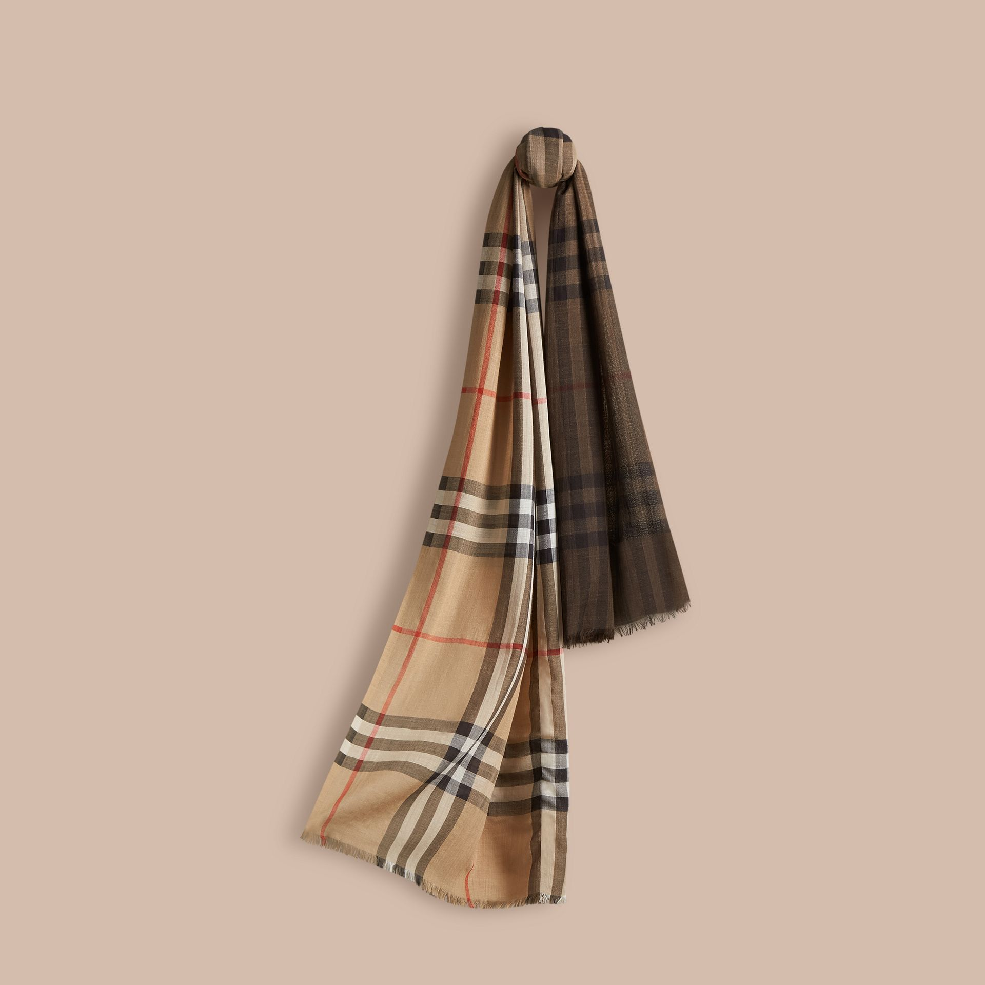 Camel check Ombré Check Lightweight Wool Silk Scarf - gallery image 1
