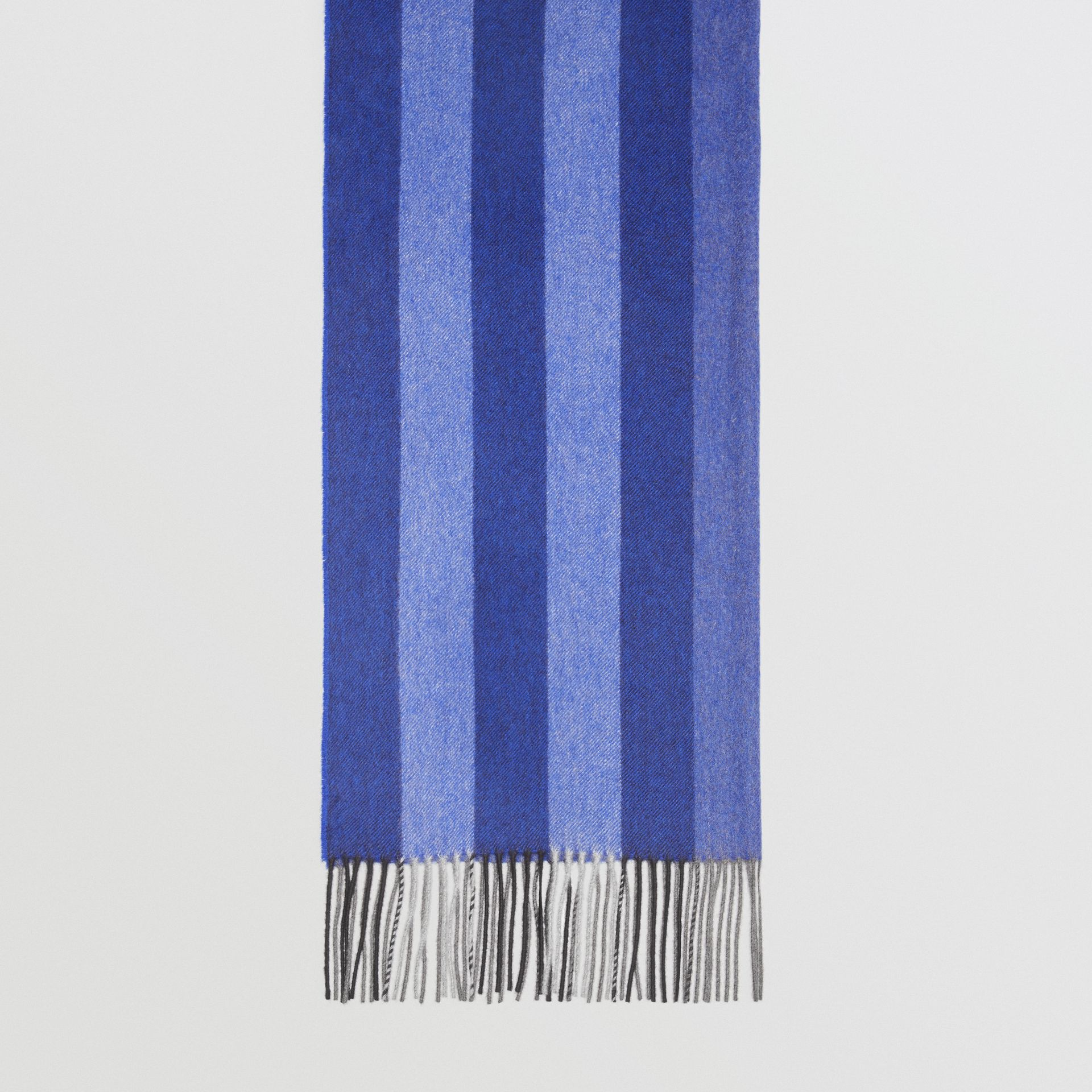 Colour Block Check Cashmere Scarf in Bright Cobalt | Burberry Singapore - gallery image 4