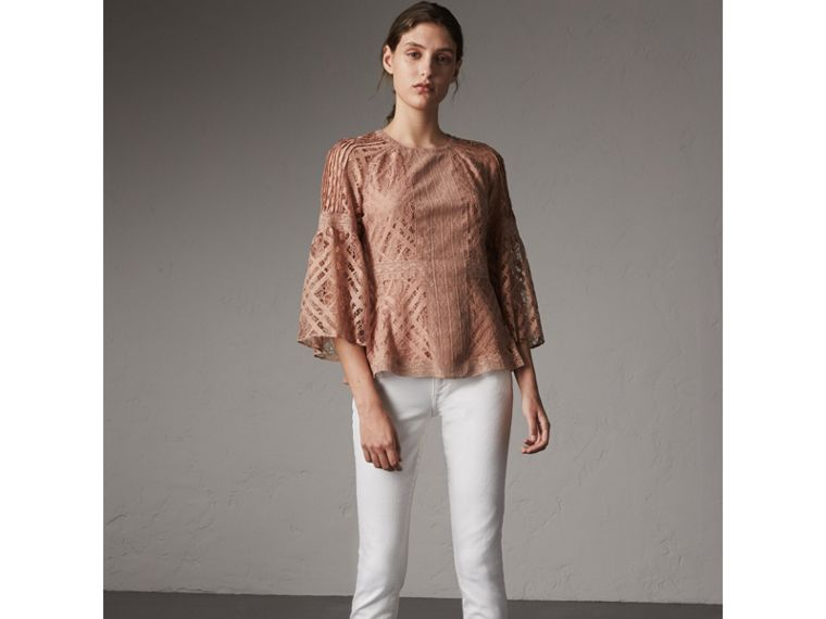 Bell-sleeve Floral and Check Lace Top in Pale Ash Rose - Women | Burberry - cell image 4