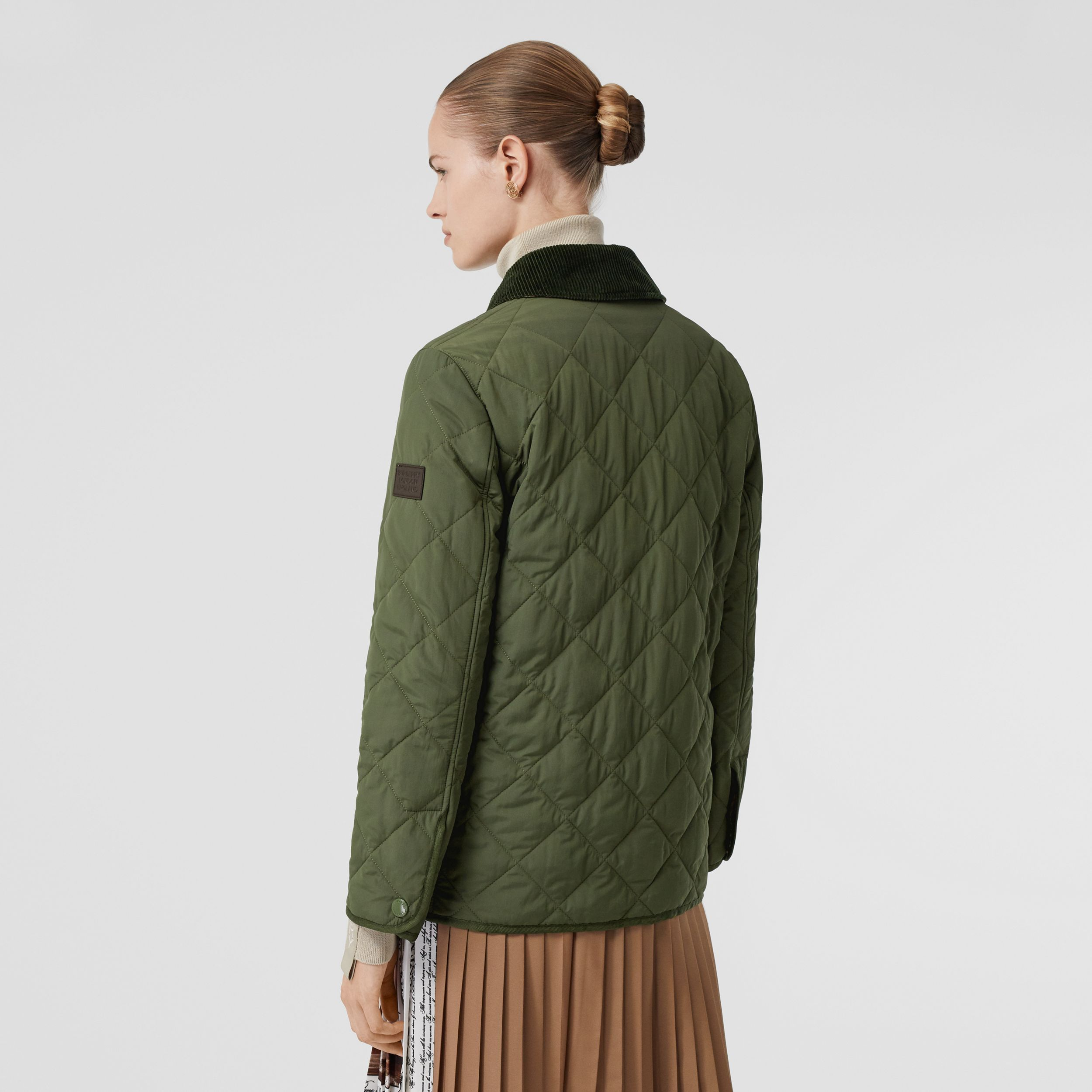 Diamond Quilted Thermoregulated Barn Jacket in Poplar Green - Women | Burberry - 3