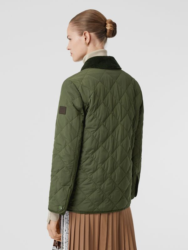 Diamond Quilted Thermoregulated Barn Jacket in Poplar Green - Women | Burberry - cell image 2