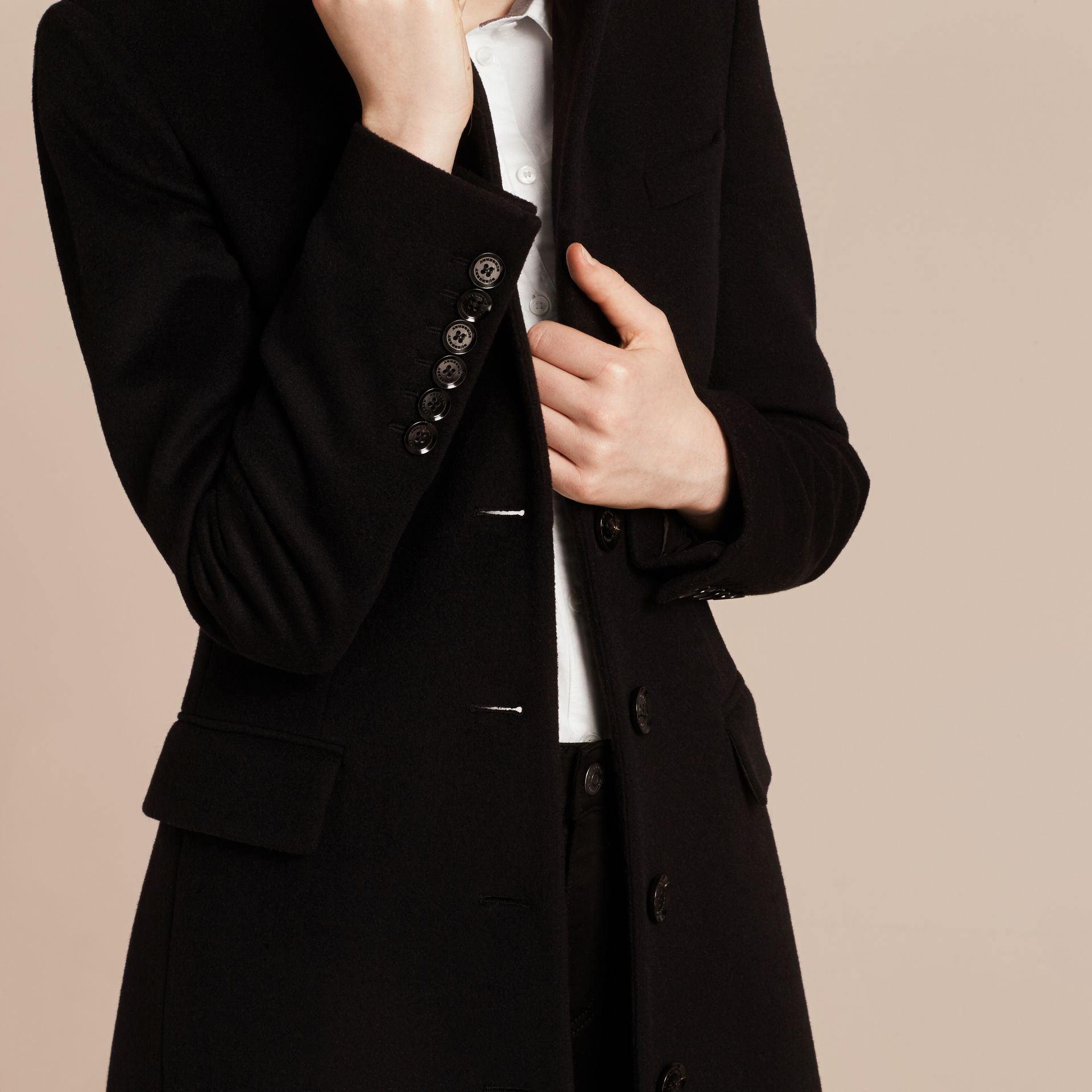 Wool Cashmere Tailored Coat in Black - gallery image 5