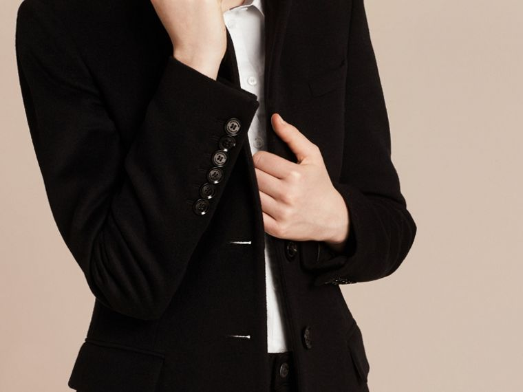 Wool Cashmere Tailored Coat in Black - cell image 4
