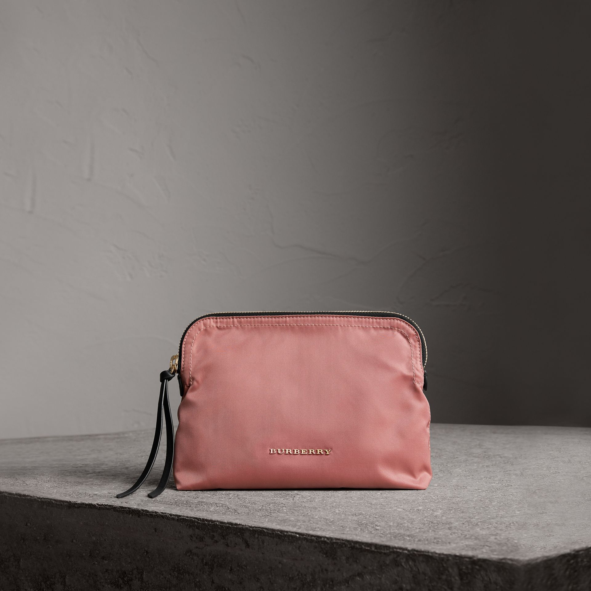 Large Zip-top Technical Nylon Pouch in Mauve Pink - Women | Burberry - gallery image 0