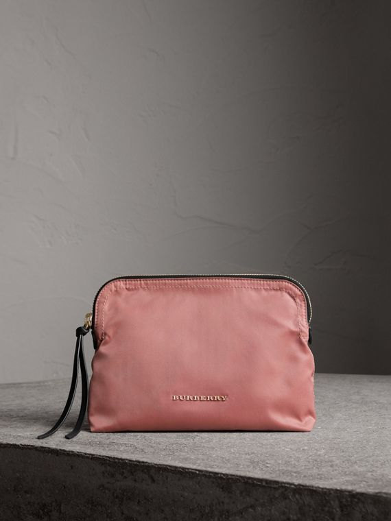 Large Zip-top Technical Nylon Pouch in Mauve Pink
