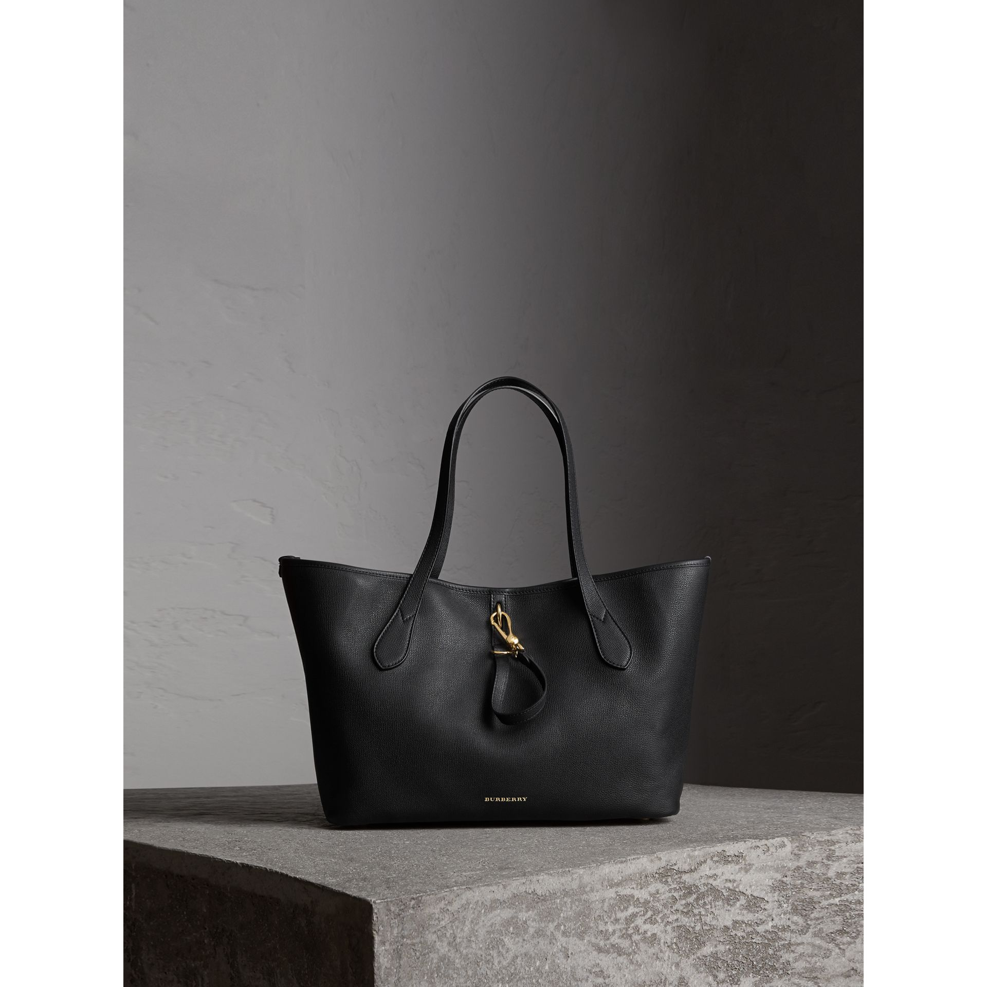 Medium Grainy Leather Tote Bag in Black - Women | Burberry - gallery image 1