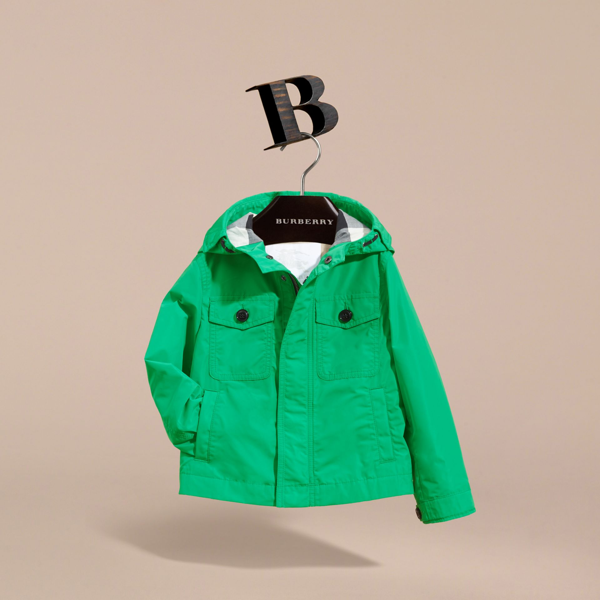 Hooded Field Jacket in Bright Green | Burberry - gallery image 3