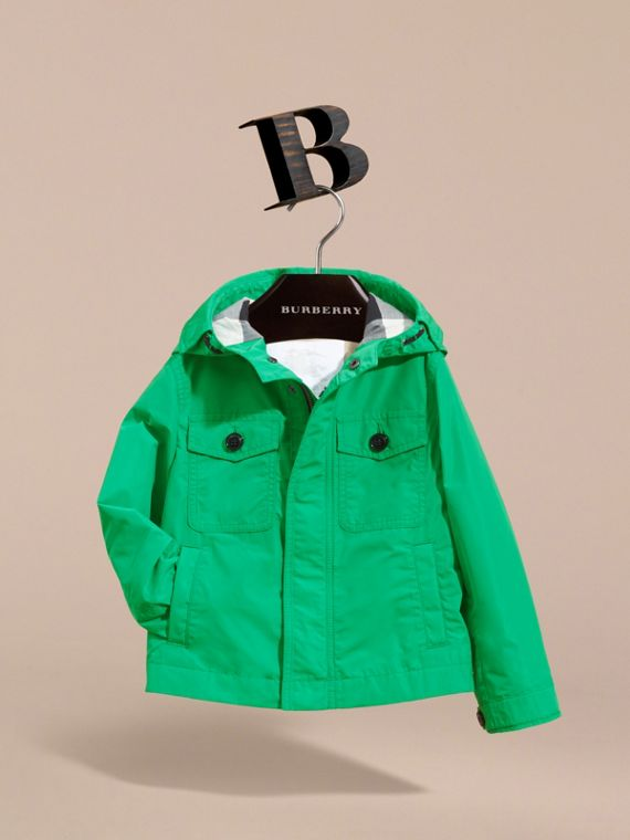 Hooded Field Jacket in Bright Green - Boy | Burberry - cell image 2