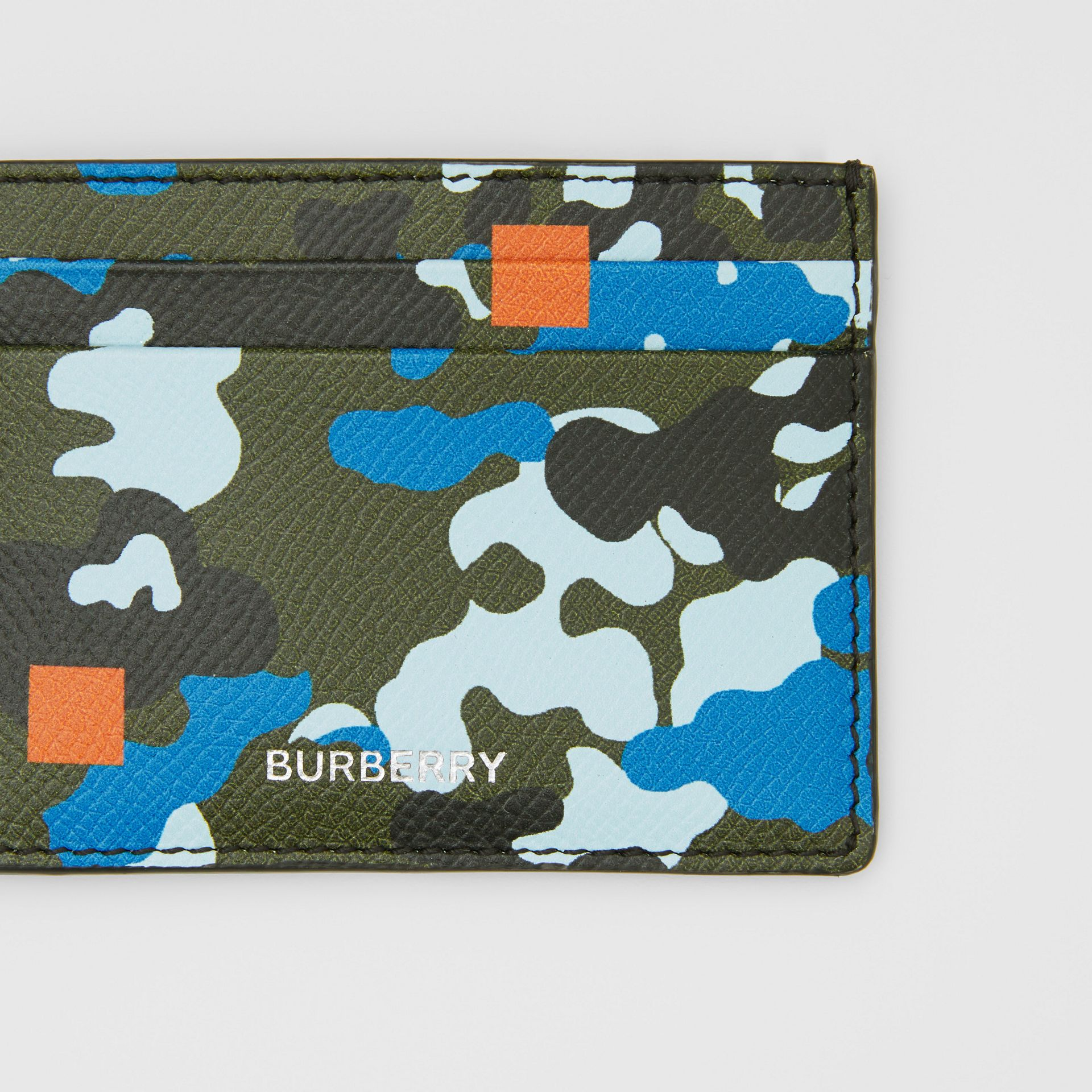 Camouflage Print Grainy Leather Card Case in Blue | Burberry United Kingdom - gallery image 1