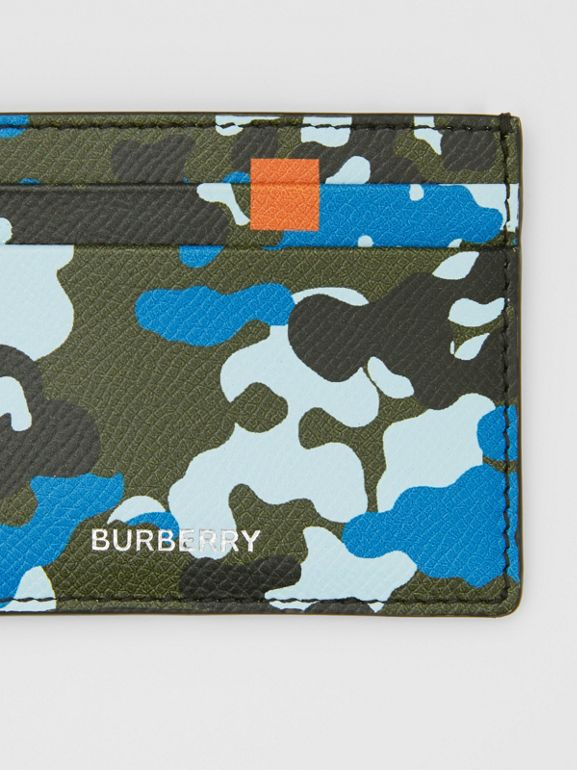 Camouflage Print Grainy Leather Card Case in Blue | Burberry United Kingdom - cell image 1