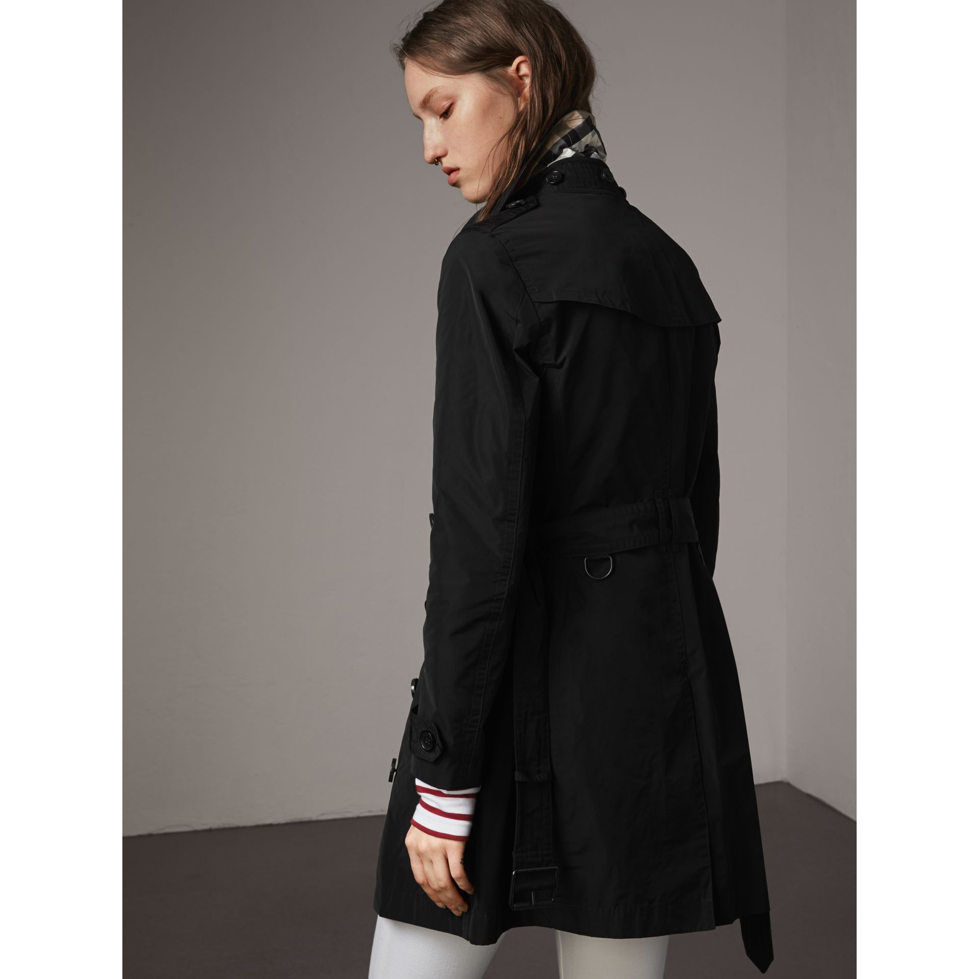 Taffeta Trench Coat with Detachable Hood in Black - gallery image 3