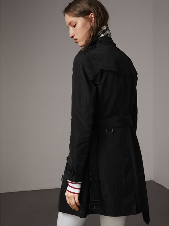 Taffeta Trench Coat with Detachable Hood in Black - cell image 2