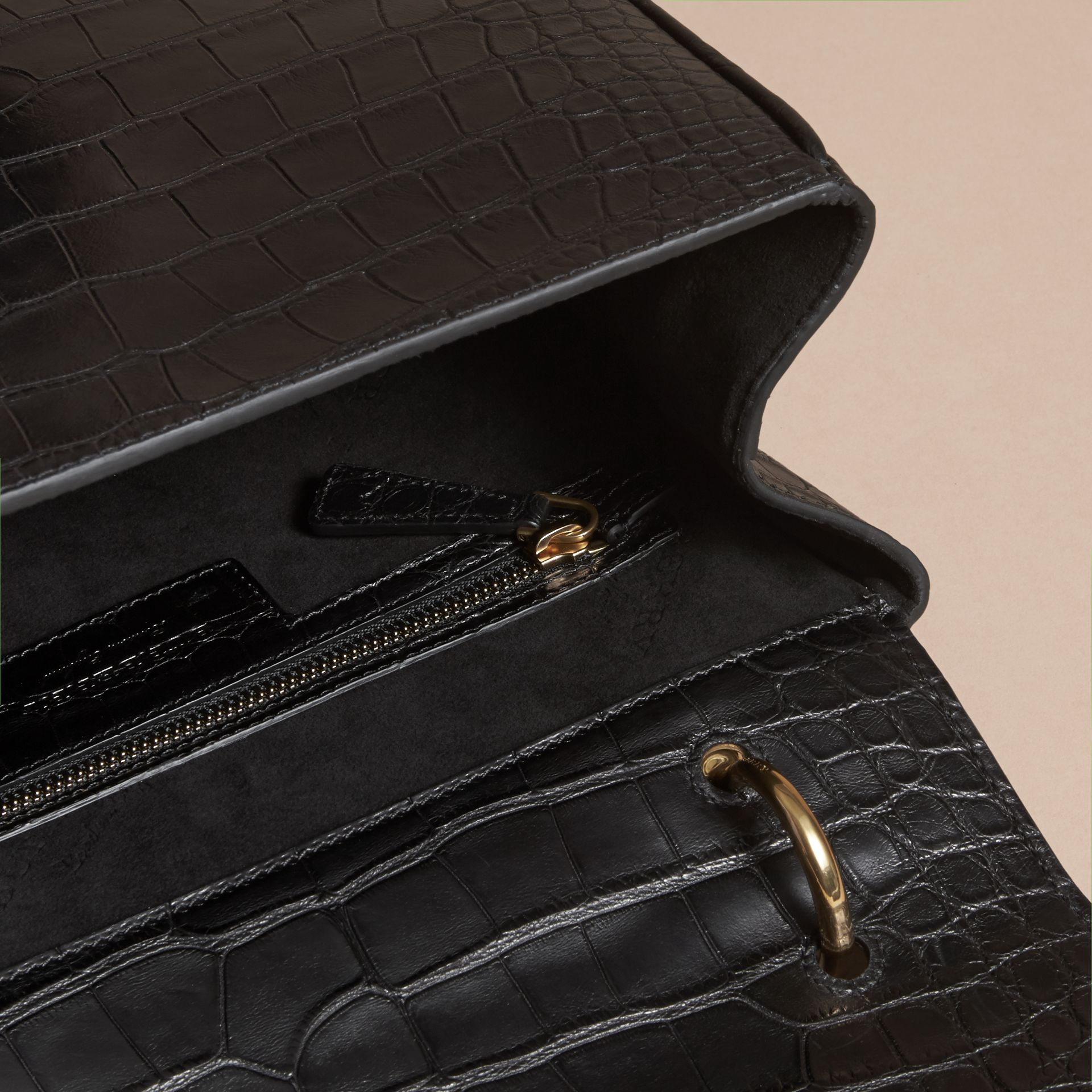 The Medium DK88 Top Handle Bag in Alligator in Black - Women | Burberry - gallery image 4