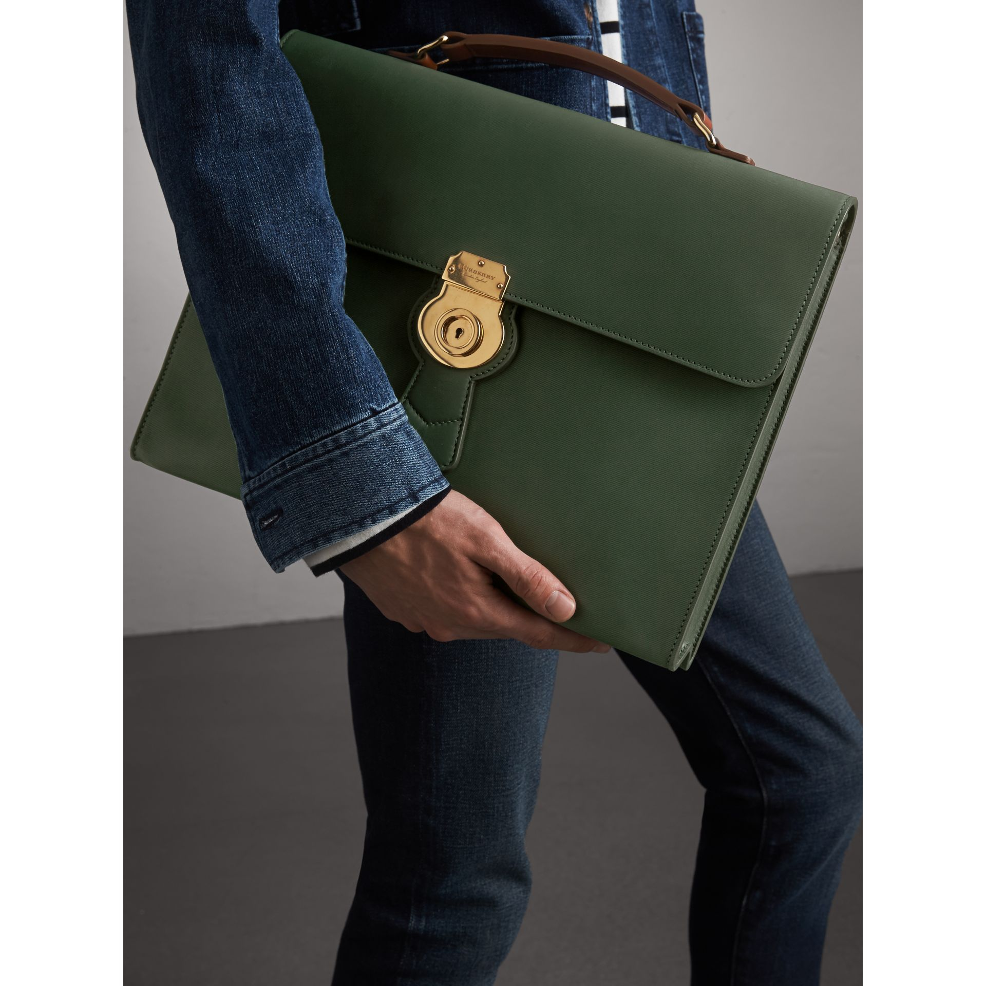 The Large DK88 Document Case in Dark Forest Green - Men | Burberry - gallery image 4