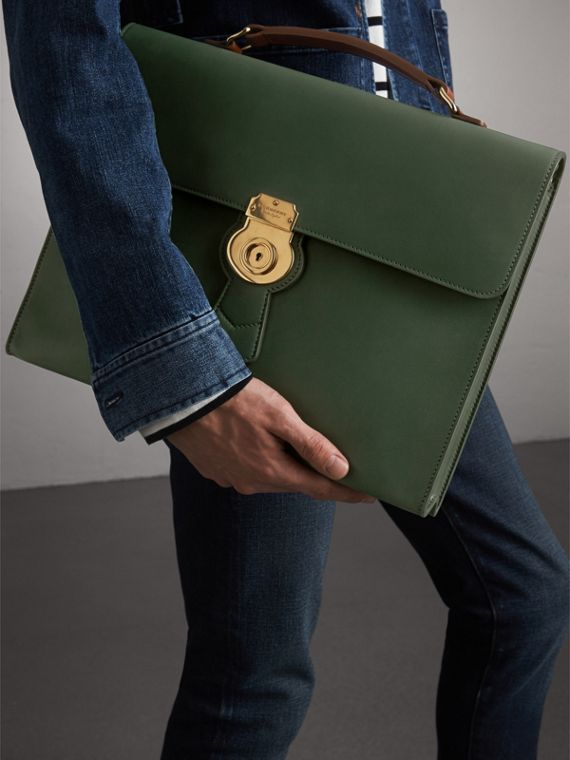 The Large DK88 Document Case in Dark Forest Green - Men | Burberry - cell image 3