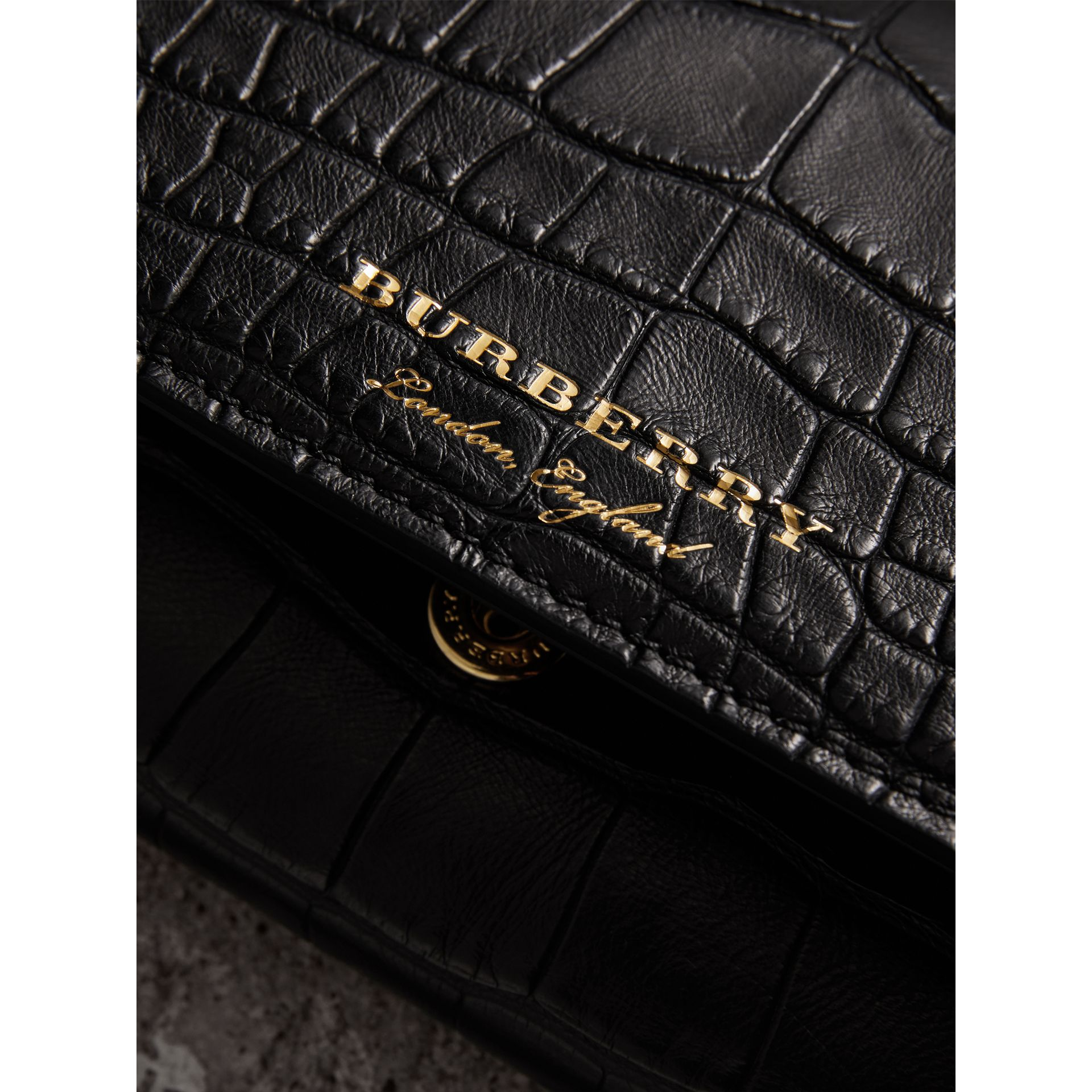 Alligator and Leather Continental Wallet in Black - Women | Burberry United States - gallery image 1