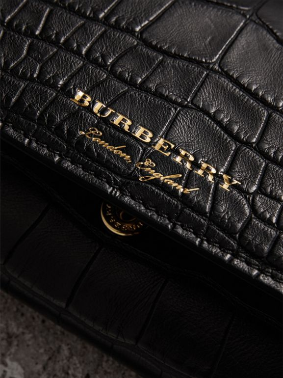 Alligator and Leather Continental Wallet in Black - Women | Burberry United States - cell image 1