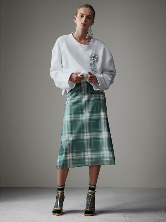 Silk-lined Tartan Plastic A-line Skirt in Green