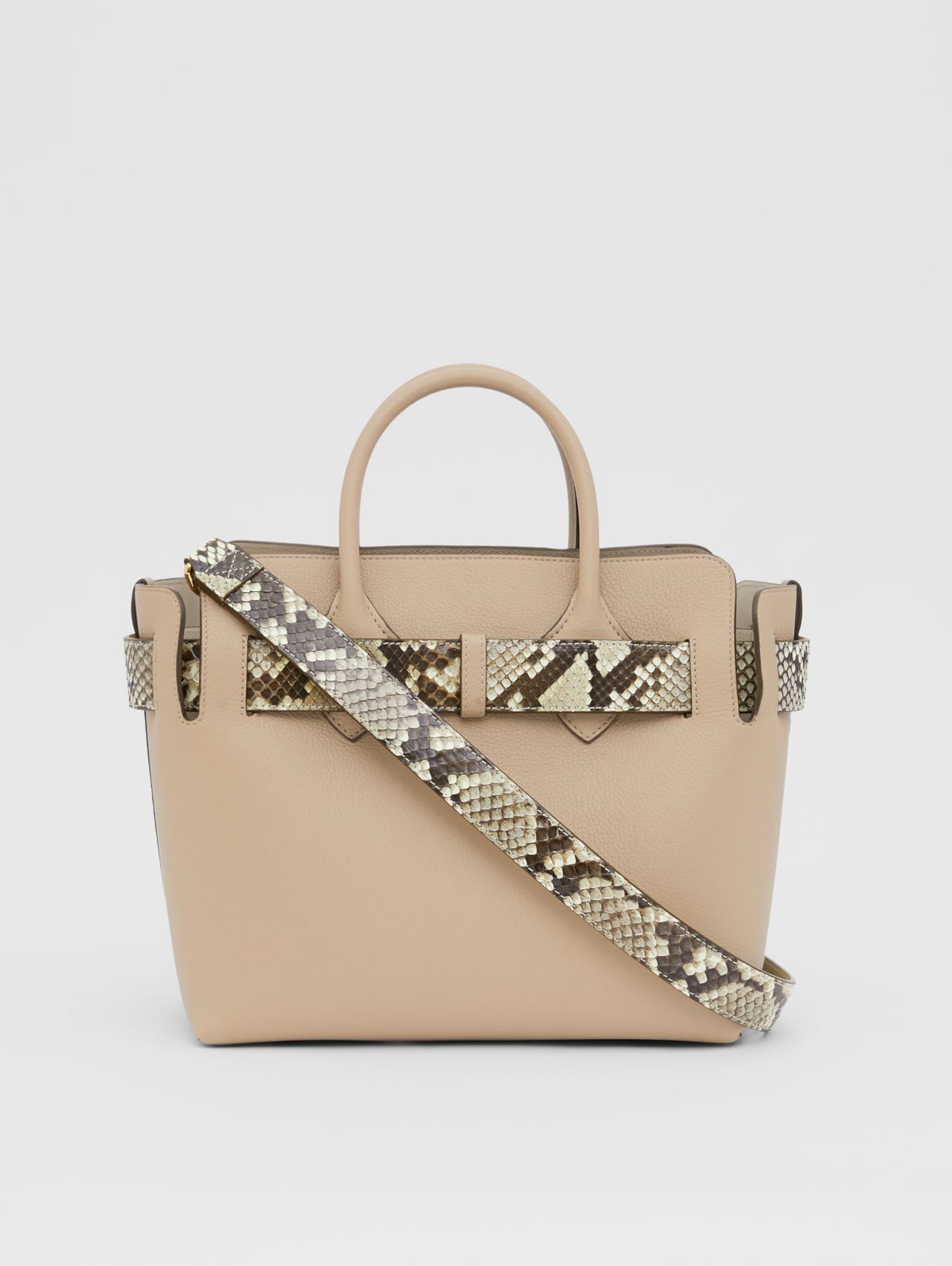 The Small Python Triple Stud Belt Bag in Natural/pale Drift