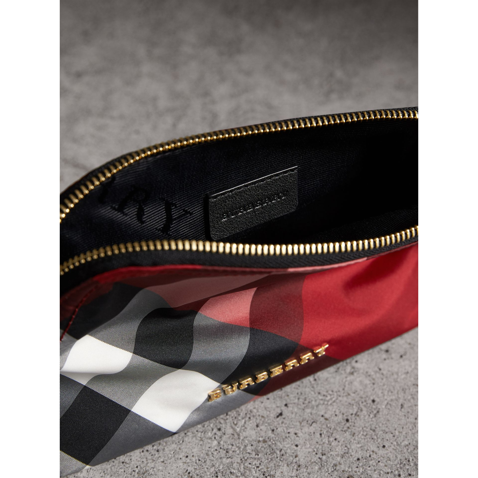 Medium Zip-top Check Technical Pouch in Parade Red - Women | Burberry - gallery image 5