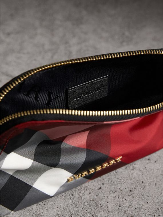 Medium Zip-top Check Technical Pouch in Parade Red - Women | Burberry Singapore - cell image 3